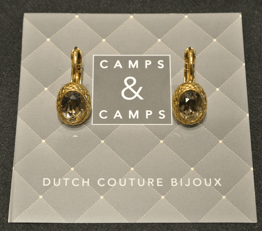 Camps & Camps Oorbellen gold plated dormeuse ovaal bruin/taupe