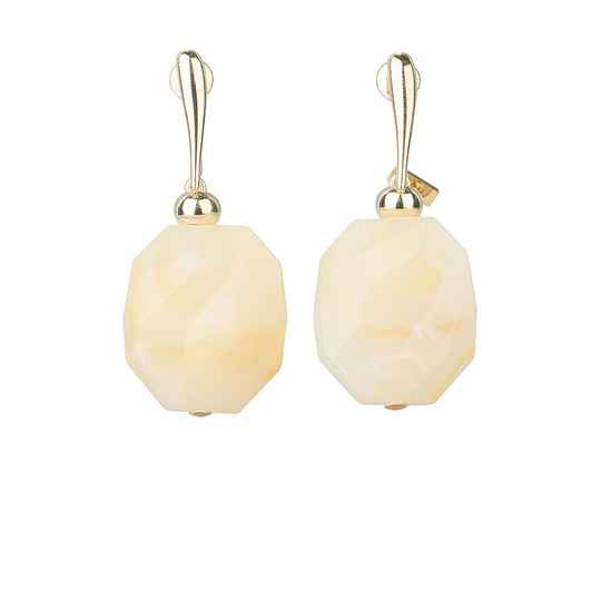Camps & Camps Oorhangers creamy facetted stone earrings