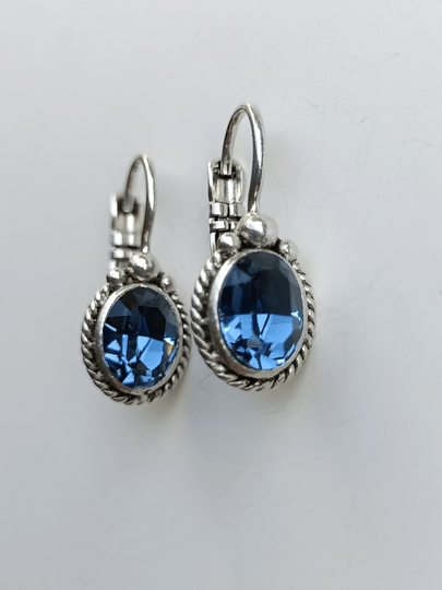 Camps & Camps Oorbellen silver plated dormeuse ovaal Blauw