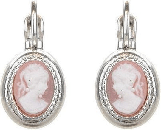 Camps & Camps Oorbellen silver plated dormeuse ovaal roze camee