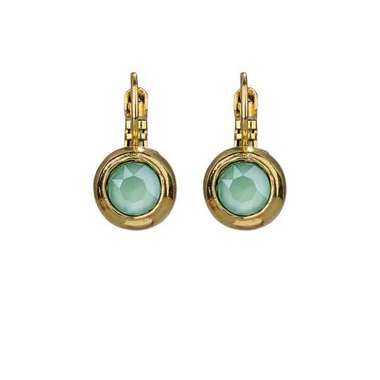 Camps & Camps Oorbellen gold plated dormeuse rond mint groen