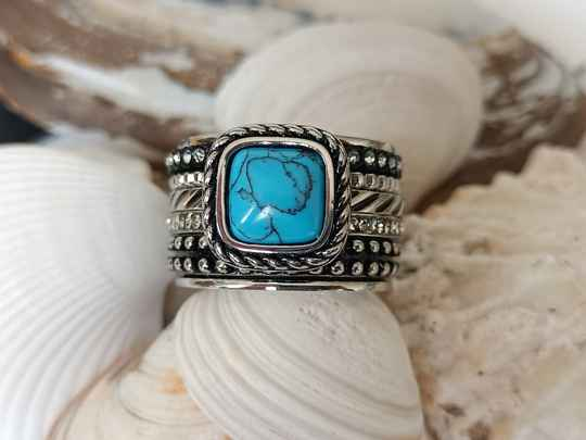 iXXXi Jewelry Complete Ring 14mm Summer Turquoise Zilver
