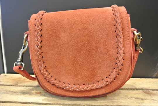 SALE Suède Crossbodytas Brick met Flap Over