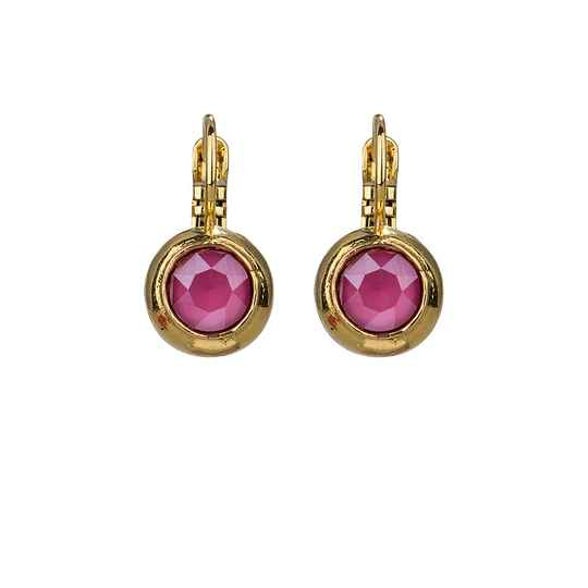 Camps & Camps Oorbellen gold plated dormeuse rond roze paars
