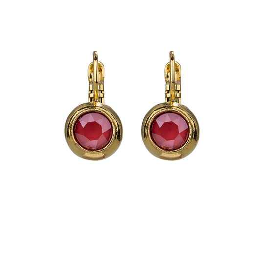 Camps & Camps Oorbellen gold plated dormeuse rond rood opaal