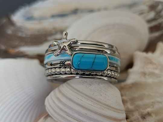iXXXi Jewelry Complete Ring 10mm Festival Turquoise Zilver