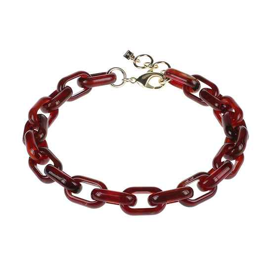 Camps & Camps Collier burgundy oval link chain (rood)