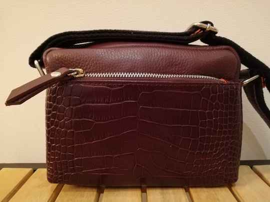 SALE Crossbodytas Leer met Croco Print Bordeaux Rood