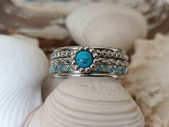 iXXXi Jewelry Complete Ring 8mm Inspired Turquoise Zilver
