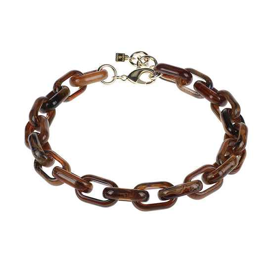 Camps & Camps Collier foxy oval link chain (bruin-blauw)