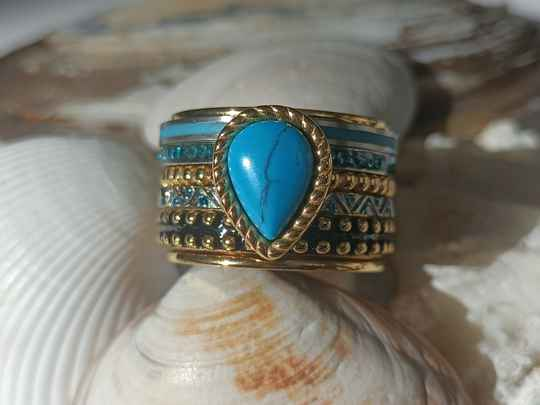 iXXXi Jewelry Complete Ring 14mm Magic Turquoise Goud