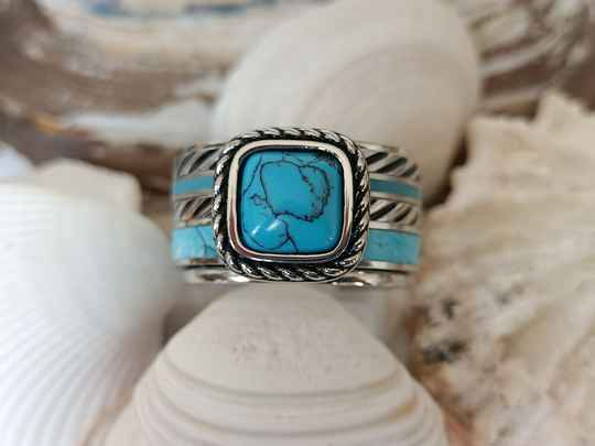 iXXXi Jewelry Complete Ring 12mm Summer Turquoise Zilver