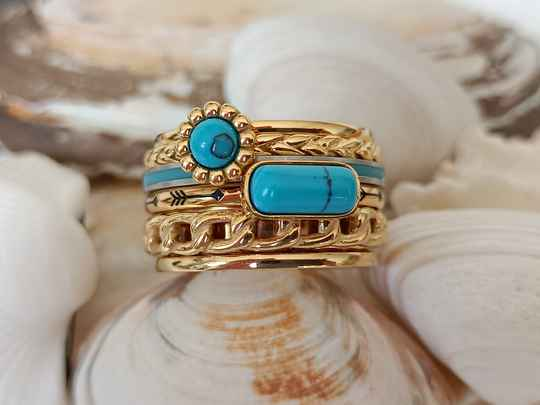 iXXXi Jewelry Complete Ring 12mm Festival Turquoise Goud