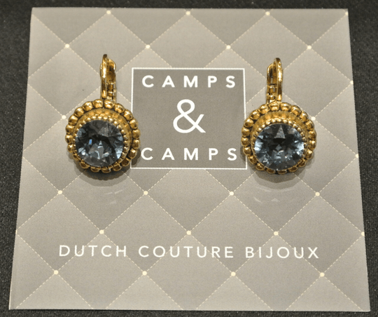 Camps & Camps Oorbellen gold plated dormeuse rond blauw