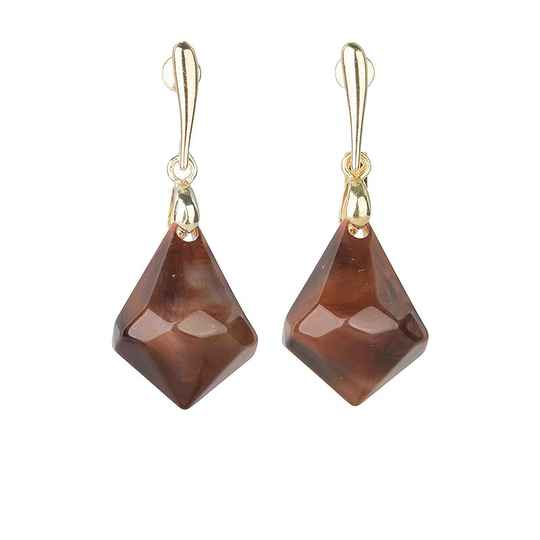 Camps & Camps Oorhangers ganache chunky drops (smoked topaz)