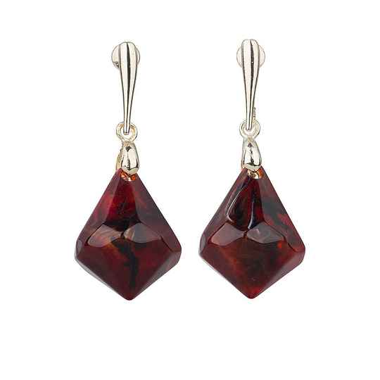 Camps & Camps Oorhangers burgundy chunky drops (rood)