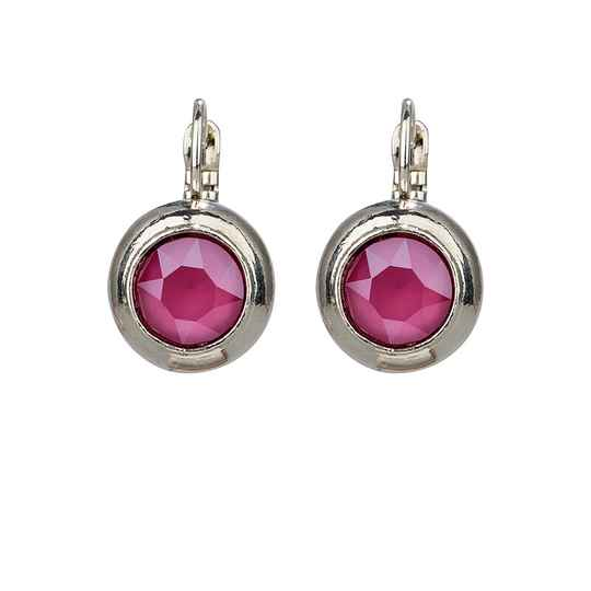 Camps & Camps Oorbellen silver plated dormeuse rond roze