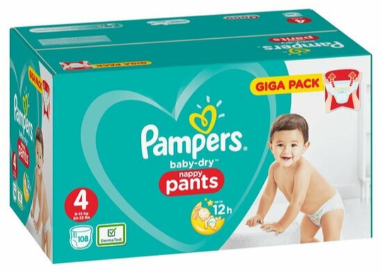 Pampers Baby-Dry 4 Nappy Pants - 108 stuks
