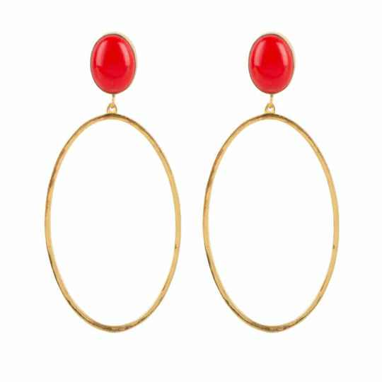 OVAL STONES BIG Red Gold