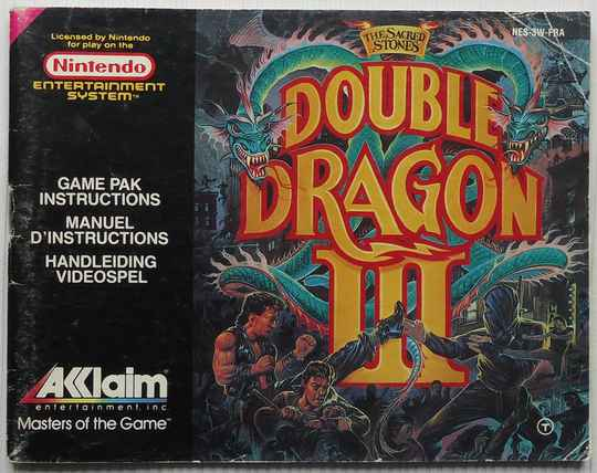 NES - Double Dragon III: The Sacred Stones   instruction booklet (FRA)