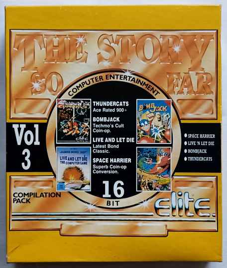 Amiga 500 - Story So Far Volume 3 compilation of 4 games: Bombjack, Thundercats, Space Harrier, Live 'n Let Die