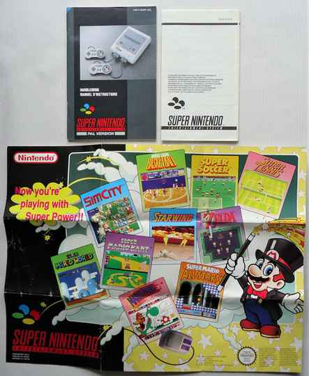 Super Nintendo - Documentation set of ad poster and 2 booklets