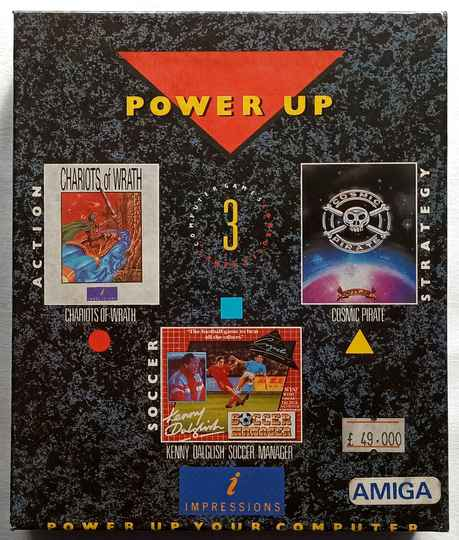 Amiga 500 - Power Up Your Computer compilation of 3 games: Chariots of Wrath, Cosmic Pirate, Kenny Dalglish Soccer Manager