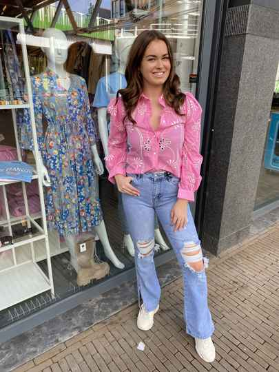 Broderie blouse roze