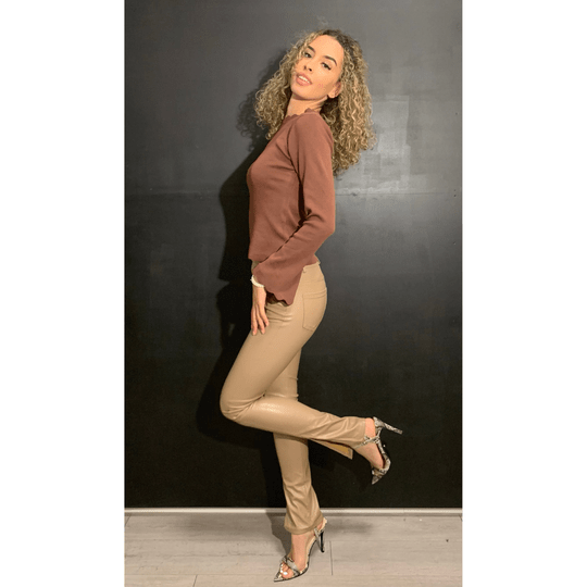 Trouser - Leather split Taupe (206)