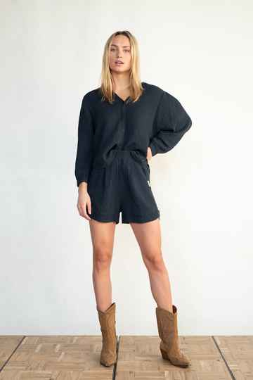 PENN & INK BLOUSE (S21T531) NAVY 25259
