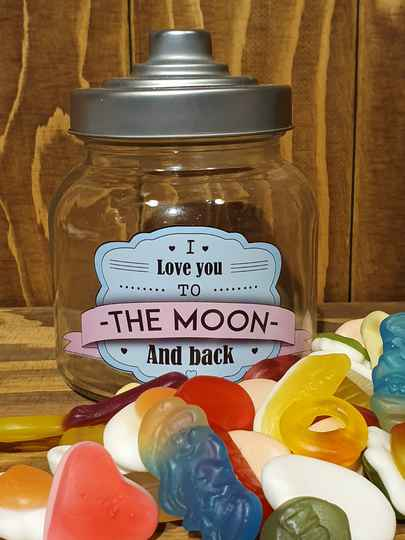 I love you to the moon and back - Snoeppot gevuld