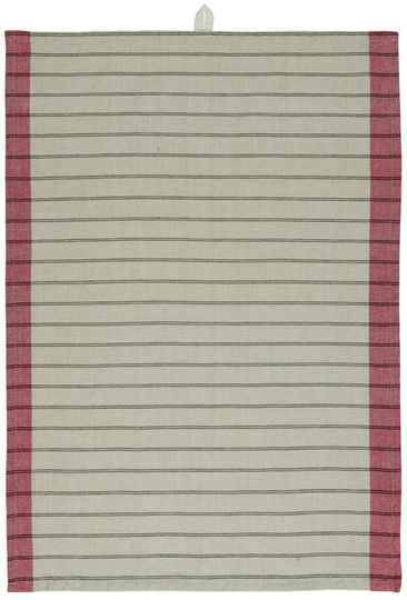 IB-Laursen Tea towel beige w/red edges and black stripes  66017-33