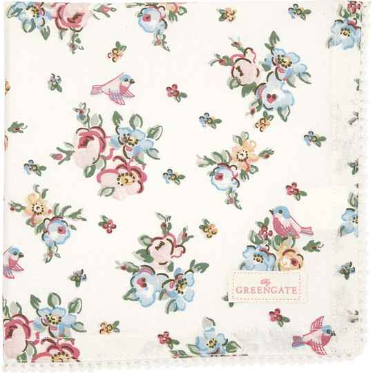 GreenGate Cloth Napkin with Lace Ellie White   COTNAPWLEIE0108