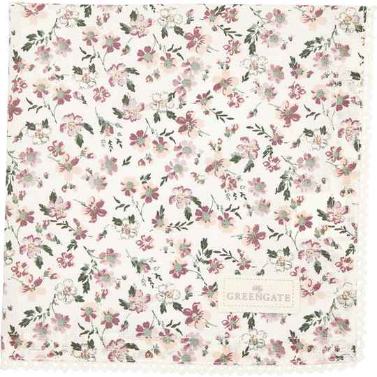 GreenGate Cloth Napkin with Lace Marie Petit Dusty Rose   COTNAPWLMPE1108