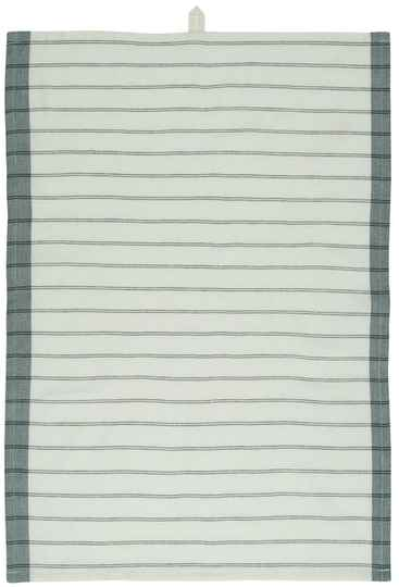 IB-Laursen   Tea towel white w/green edges and black stripes   66021-22