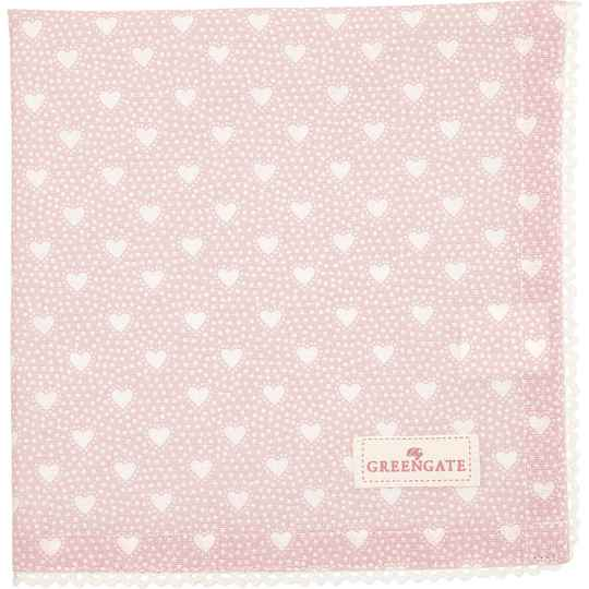 GreenGate Cloth Napkin with Lace Penny Pale Pink   COTNAPWLPNY1908