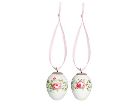 GreenGate  Decorative egg Gabby white set of 2 hanging    STWDEG2PCSGAB0106