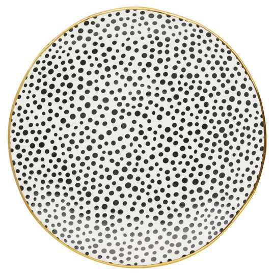 GreenGate Plate 20 cm  Dot Black with Gold