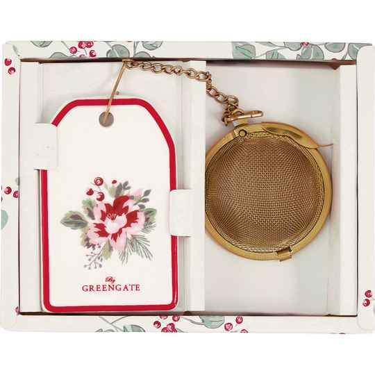 GreenGate Tea Infuser Charline White with Chain   STEINFWCHN0104