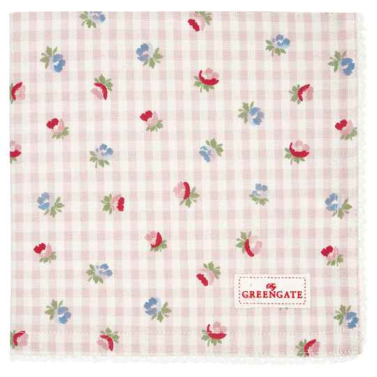 GreenGate  Napkin with lace Viola check pale pink   COTNAPWLVCH1908