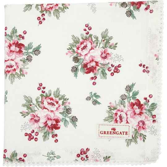 GreenGate Cloth Napkin with Lace Charline White  COTNAPWLCHN0108