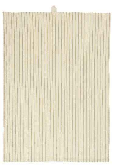 IB-LaursenTea towel natural w/small mustard stripes  66001-03