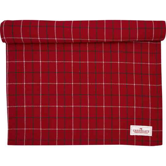 GreenGate Table Runner Lyla Check Red 45 x 140 cm   COTTAR140LYC1004