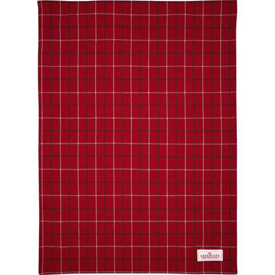 GreenGate Tea Towel Lyla Check Red   COTTEALYC1012