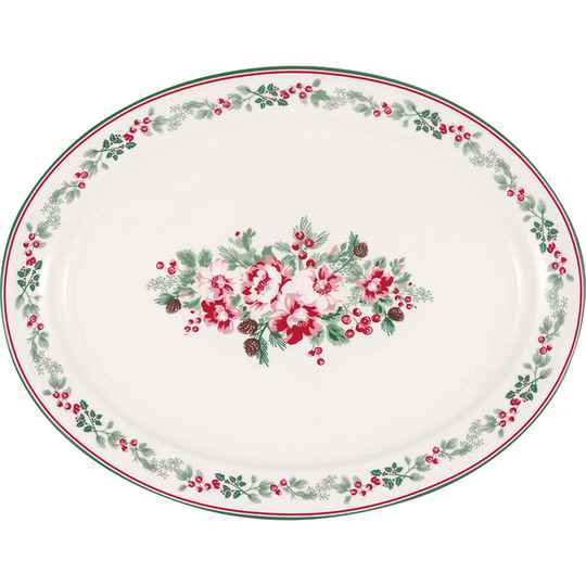 GreenGate   Oval serving plate Charline white   STWOSPCHN0102