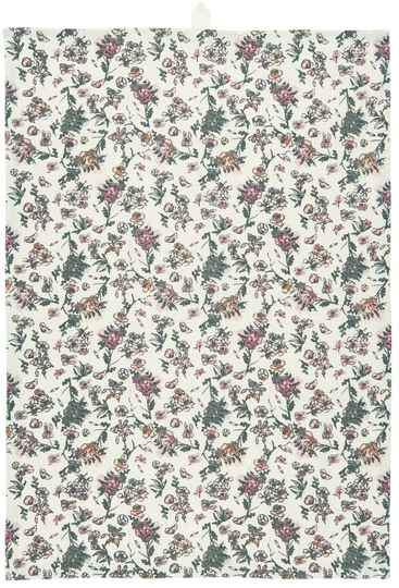 Ib-Laursen Tea towel w/faded rose and grey flower pattern   66030‐37