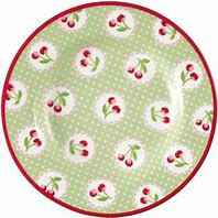 GreenGate Small Plate 15 cm Cherry Berry Pale Green