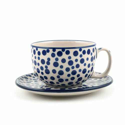 Bunzlau Castle  Cup and Saucer 440 ml Crazy Dots   1769-1813