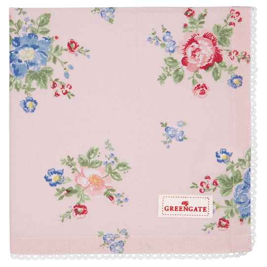 GreenGate  Napkin with lace Roberta pale pink   COTNAPWLROB1908