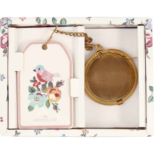 GreenGate Tea Infuser Madison White with Chain   STEINFWMDS0104